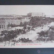 Postales: POSTAL MADRID. ESTACIÓN DEL NORTE Y PALACIO REAL. . Lote 45473596