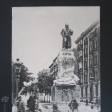 Postales: POSTAL MADRID. ESTATUA DE GOYA Y BOULEVARD DE VELAZQUEZ. . Lote 45473602