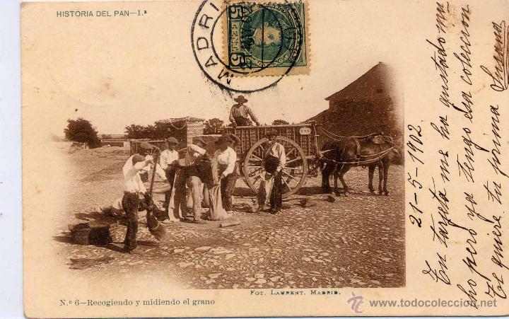 MADRID.- HISTORIA DEL PAN.- RECOGIENDO Y MIDIENDO EL GRANO. (Postales - España - Comunidad de Madrid Antigua (hasta 1939))