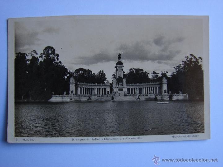 POSTAL ANTIGUA. MADRID. ESTANQUE DEL RETIRO Y MONUMENTO A ALFONSO XII (Postales - España - Comunidad de Madrid Antigua (hasta 1939))