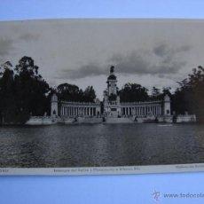 Postales: POSTAL ANTIGUA. MADRID. ESTANQUE DEL RETIRO Y MONUMENTO A ALFONSO XII. Lote 46098254