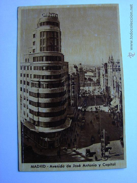 POSTAL ANTIGUA. MADRID. AVENIDA DE JOSE ANTONIO Y CAPITOL (Postales - España - Comunidad de Madrid Antigua (hasta 1939))