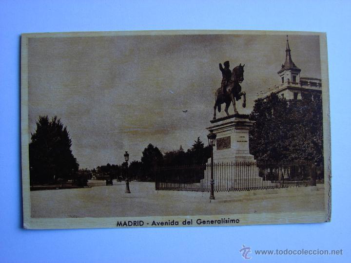 POSTAL ANTIGUA. MADRID. AVENIDA DEL GENERALISIMO (Postales - España - Comunidad de Madrid Antigua (hasta 1939))