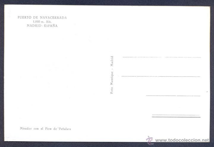 Postales: PUERTO DE NAVACERRADA ( MADRID ). MIRADOR CON EL PICO DE PEÑALARA. - Foto 2 - 46295429