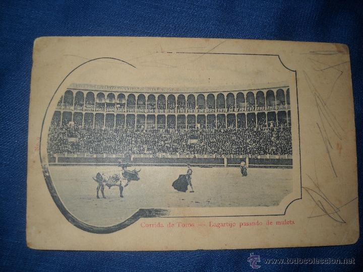 ANTIGUA POSTAL DE CORRIDA DE TOROS-LAGARTIJO PASANDO LA MULETA. (Postales - España - Comunidad de Madrid Antigua (hasta 1939))
