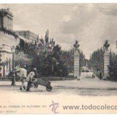 Postales: TARJETA POSTAL MADRID. ENTRADA AL PARQUE DE ALFONSO XIII. Nº 278. HAUSER Y MENET, CIRCA 1905. Lote 48631211