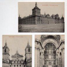 Postales: LOTE DE 3 POSTALES DE EL ESCORIAL. FOTOTIPIA CASTAÑEIRA, ÁLVAREZ Y LEVENFELD. MADRID.. Lote 48998989