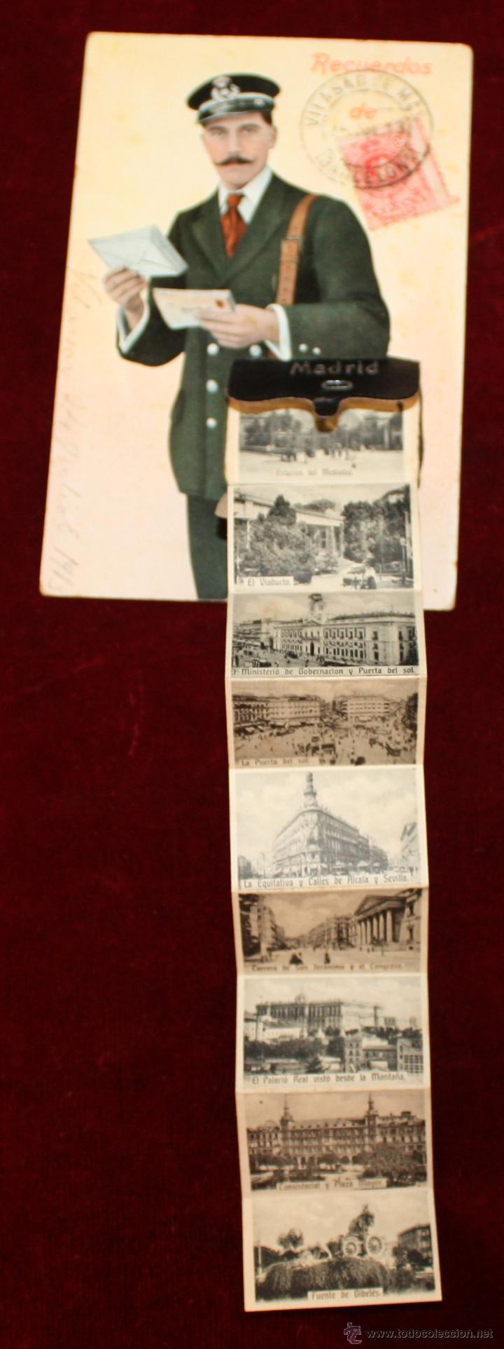 Postales: ANTIGUA POSTAL RECUERDOS DE MADRID. TIRA CON 10 VISTAS. ED. E. DUMAS. CIRCULADA - Foto 2 - 49825270