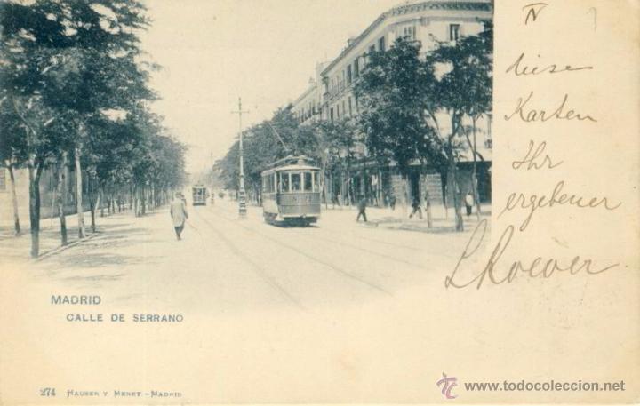 TARJETA POSTAL MADRID CALLE DE SERRANO HAUSER Y MANET 247, DOS SELLOS ALFONSO XIII TIPO PELON (Postales - España - Comunidad de Madrid Antigua (hasta 1939))
