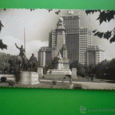 Postales: MADRID PLAZA EDIFICIO ESPAÑA CERVANTES ANTIGUA TARJETA POSTAL FOTOGRAFIA CIRCULADA. Lote 50603022