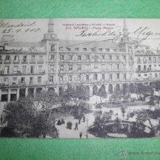 Postales: ANTIGUA POSTAL MADRID 1917 PLAZA MAYOR IMPECABLE SELLO ALFONSO XIII CIRCULADA. Lote 51101402