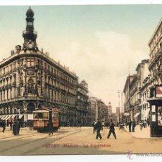 Postales: MADRID. LA EQUITATIVA EDITION PHOTOGLOB CO. ZURICH, P.Z. 47037. CON KIOSKO Y TRANVÍA. Lote 51737644