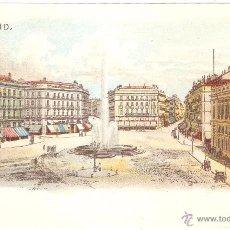 Postales: MADRID LITOGRAFIA DE MADRID PUERTA DEL SOL. Lote 52318468