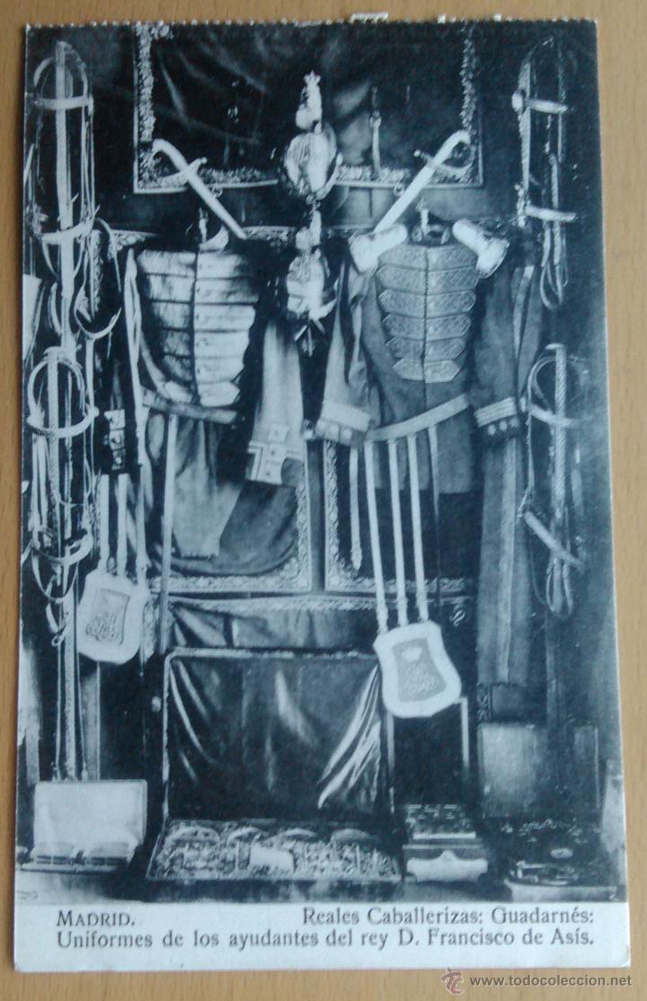MADRID - REALES CABALLERIZAS - UNIFORMES AYUDANTES DEL REY D. FCO. DE ASIS (Postales - España - Comunidad de Madrid Antigua (hasta 1939))