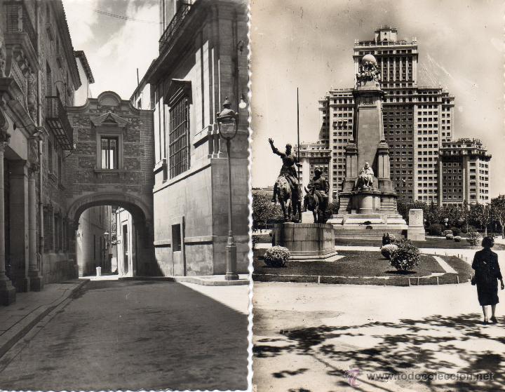 MADRID. 2 RARAS POSTALES. MONUMENTO A CERVANTES Y PASADIZO DE CISNEROS (Postales - España - Madrid Moderna (desde 1940))