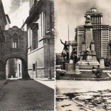 Postales: MADRID. 2 RARAS POSTALES. MONUMENTO A CERVANTES Y PASADIZO DE CISNEROS. Lote 53331072