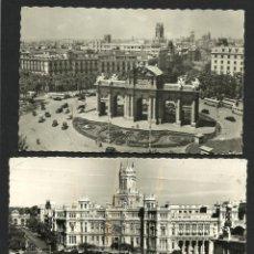 Postales: LOTE 2 POSTALES MADRID AÑOS 40-50 - PLAZA CIBELES Y PALACIO COMUNICACIONES - PUERTA DE ALCALA. Lote 53780357
