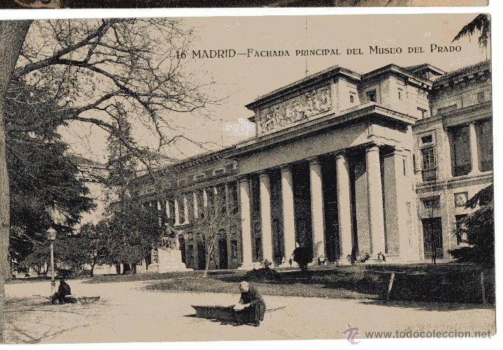 MADRID. FACHADA MUSEO DEL PRADO. ANIMADA. GRAFOS. SIN CIRCULAR (Postales - España - Comunidad de Madrid Antigua (hasta 1939))