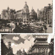 Postales: MADRID. 2 POSTALES. CALLE DE ALCALA Y AVENIDA DE JOSE ANTONIO. GARCIA GARRABELLA. Lote 54541452