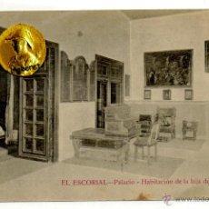 Postales: POSTAL EL ESCORIAL PALACIO HABITACION DE LA HIJA DE FELIPE II. Lote 54594396