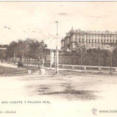 Postales: MADRID PASEO DE SAN VICENTE Y PALACIO REAL. Lote 54851886