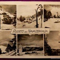 Postales: POSTAL DEL PUERTO DE NAVACERRADA (MADRID). VISTAS DEL PUERTO. FOTO MANRIQUE. AÑOS 50. Lote 55354823