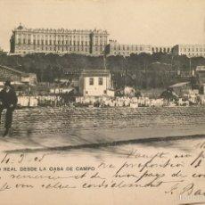Postales: MADRID- PALACIO REAL DESDE LA CASA DE CAMPO, SIN DIVIDIR. Lote 55865459