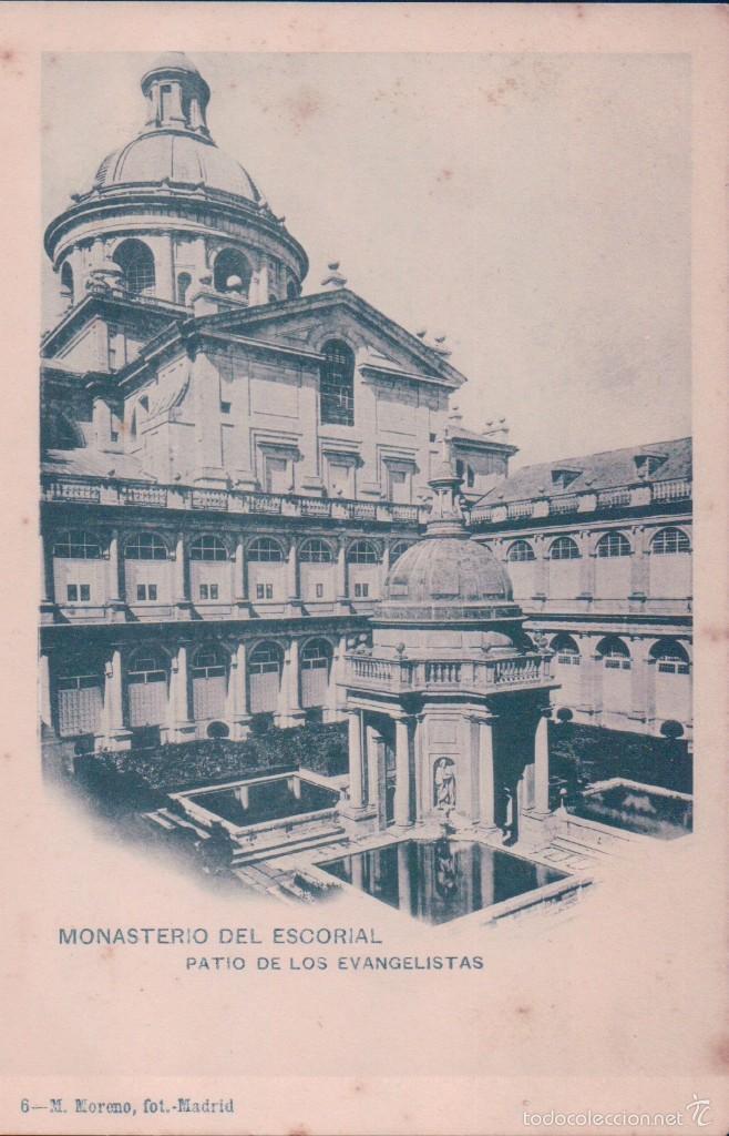POSTAL 6 M. MORENO. MONASTERIO DEL ESCORIAL-PATIO DE LOS EVANGELISTAS. REVERSO SIN DIVIDIR (Postales - España - Comunidad de Madrid Antigua (hasta 1939))