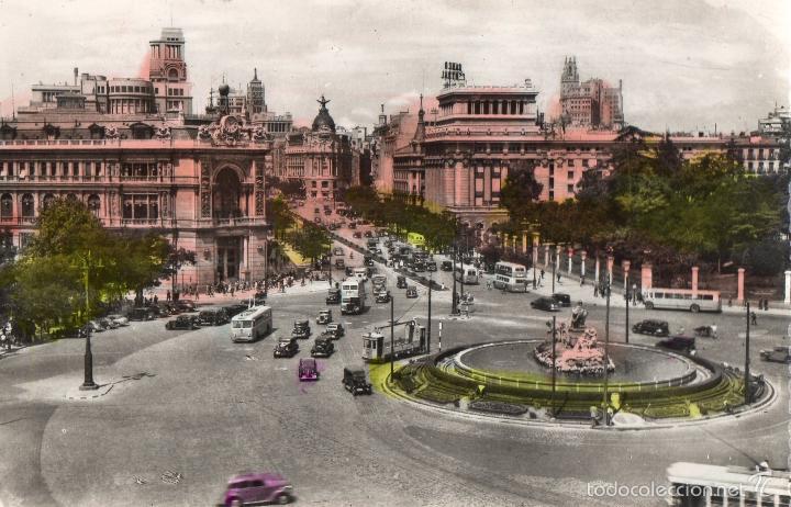 MADRID. CALLE DE ALCALA DESDE CIBELES. CIRCULADA. TRANVIAS, TROLEBUSES. AUTOBUSES DE DOS PISOS (Postales - España - Madrid Moderna (desde 1940))