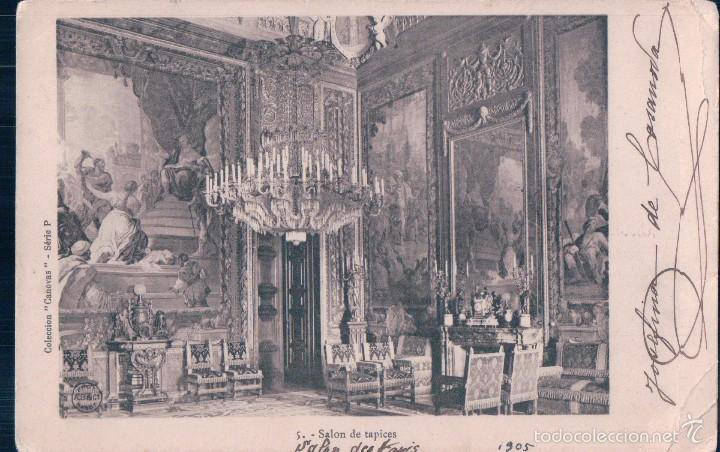 POSTAL 5.- SALON DE TAPICES. COLECCION CANOVAS- SERIE P. CIRCULADA, SIN DIVIDIR (Postales - España - Comunidad de Madrid Antigua (hasta 1939))