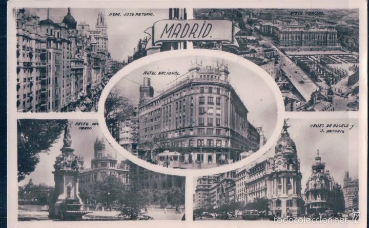 POSTAL RECUERDO DE MADRID, CINCO VISTAS. H.A.E. ESCRITA AL REVERSO (Postales - España - Comunidad de Madrid Antigua (hasta 1939))
