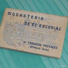 Postales: LIBRO CON 20 TARJETAS POSTALES - 1ª SERIE - MONASTERIO DE EL ESCORIAL - HAUSER Y MENET. Lote 58362401