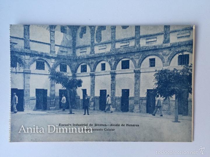 RARA Y ANTIGUA POSTAL DE ALCALA DE HENARES - ESCUELA INDUSTRIAL DE JOVENES - DEPARTAMENTO CELULAR - (Postales - España - Comunidad de Madrid Antigua (hasta 1939))