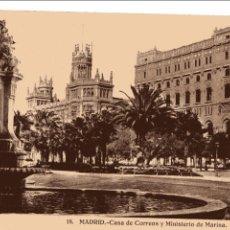 Postales: MADRID. CASA DE CORREOS Y MINISTERIO DE MARINA. HELIOTIPIA. Lote 60465523