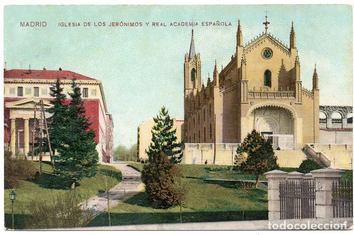PS7226 MADRID 'IGLESIA DE LOS JERÓNIMOS Y REAL ACADEMIA ESPAÑOLA'. PRINC. S. XX (Postales - España - Comunidad de Madrid Antigua (hasta 1939))