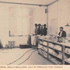Postales: MADRID.- CASA EDITORIAL BAILY-BAILLIERE: SALA DE EMBALAJES PARA CORREOS. Lote 78123477