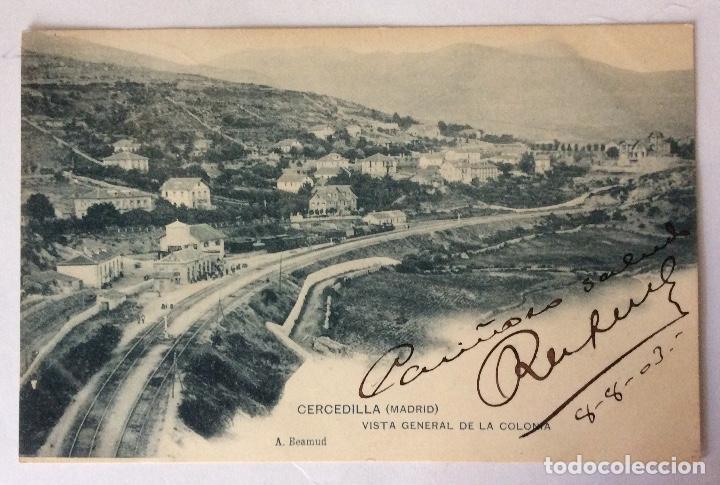 POSTAL. VISTA GENERAL DE LA COLONIA. ESTACIÓN TREN. CERCEDILLA. MADRID. (Postales - España - Comunidad de Madrid Antigua (hasta 1939))