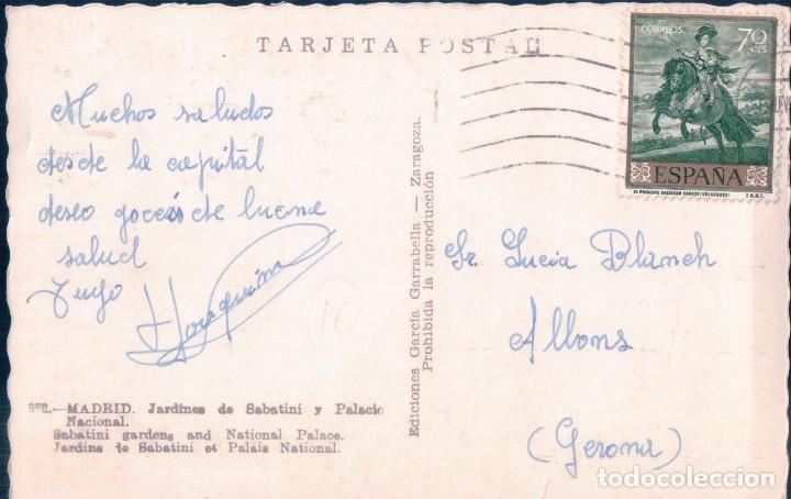 Postales: POSTAL MADRID - JARDINES DE SABATINI Y PALACIO NACIONAL - GARRABELLA - CIRCULADA - COLOREADA - Foto 2 - 78960521
