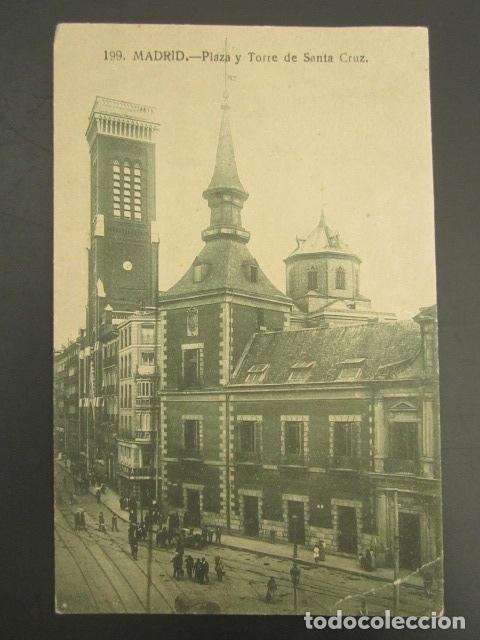 POSTAL MADRID. PLAZA Y TORRE DE SANTA CRUZ. (Postales - España - Comunidad de Madrid Antigua (hasta 1939))