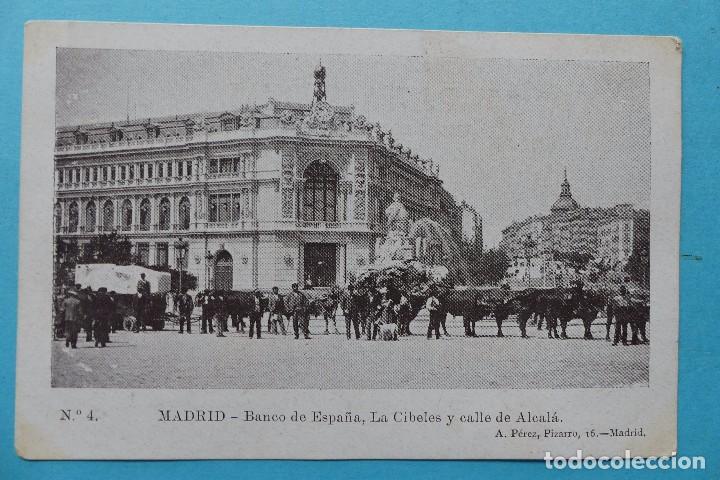 MADRID - POSTAL ANTIGUA BANCO DE ESPAÑA LA CIBELES Y CALLE DE ALCALA - ED. A. PEREZ - SIN CIRCULAR (Postales - España - Comunidad de Madrid Antigua (hasta 1939))
