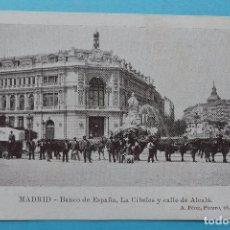Postales: MADRID - POSTAL ANTIGUA BANCO DE ESPAÑA LA CIBELES Y CALLE DE ALCALA - ED. A. PEREZ - SIN CIRCULAR. Lote 81666892