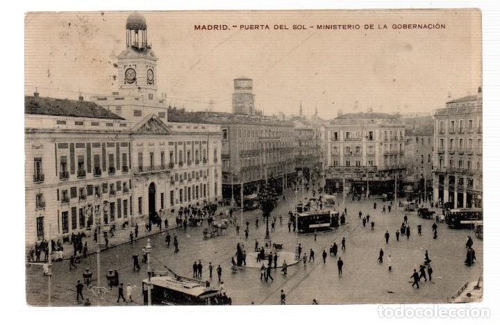 TARJETA POSTAL ,MADRID,PUERTA DEL SOL,MINISTERIO DE GOBERNACION. (Postales - España - Comunidad de Madrid Antigua (hasta 1939))