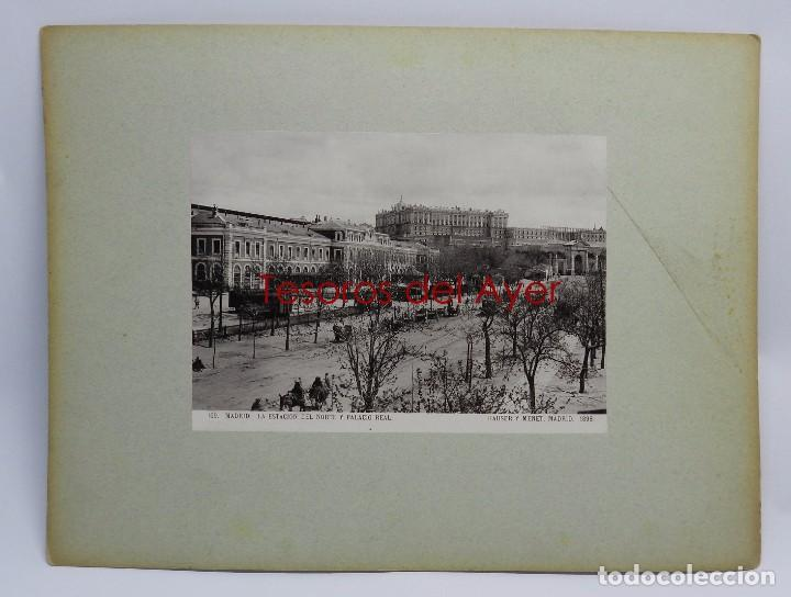 FOTOGRAFIA DE MADRID, N. 109, LA ESTACION TREN DEL NORTE Y PALACIO REAL, ED. HAUSER Y MENET, 1898, M (Postales - España - Comunidad de Madrid Antigua (hasta 1939))