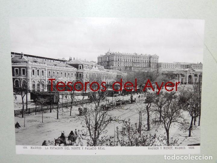 Postales: FOTOGRAFIA DE MADRID, N. 109, LA ESTACION TREN DEL NORTE Y PALACIO REAL, ED. HAUSER Y MENET, 1898, M - Foto 2 - 83897096