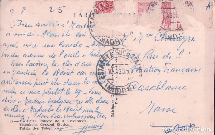 Postales: POSTAL MADRID 19 - PALACIO DE LA TELEFONICA - GARRABELLA - CIRCULADA - Foto 2 - 84693380