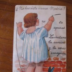 Postales: BONITA POSTAL . NO HAS VISTO NUNCA MADRID ? SE LEVANTA FALDA Y HAY DESPLEGABLE CON FOTOS AÑOS 20. Lote 85895492