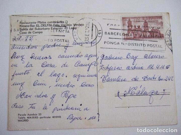 Postales: POSTAL MADRID - CASA DE CAMPO - KIOSKO BAR EL DELFIN - 1972 - CIRCULADA - Foto 2 - 87213588