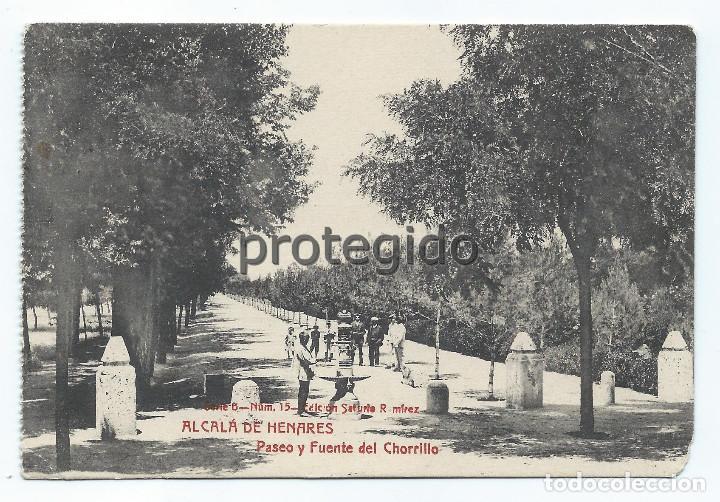 POSTAL. ALCALÁ DE HENARES. PASEO Y FUENTE DEL CHORRILLO. EDICIÓN SATURIO RAMÍREZ. (Postales - España - Comunidad de Madrid Antigua (hasta 1939))