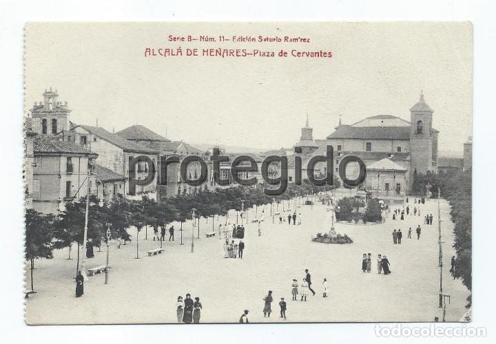 POSTAL. ALCALÁ DE HENARES. PLAZA DE CERVANTES. EDICIÓN SATURIO RAMÍREZ. (Postales - España - Comunidad de Madrid Antigua (hasta 1939))