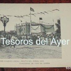 Postales: POSTAL DE MADRID (CIUDAD LINEAL). CALLE ARTURO SORIA, FIESTA DEL ÁRBOL 1906. CONCURSO DE TIRO DE BAR. Lote 88279192